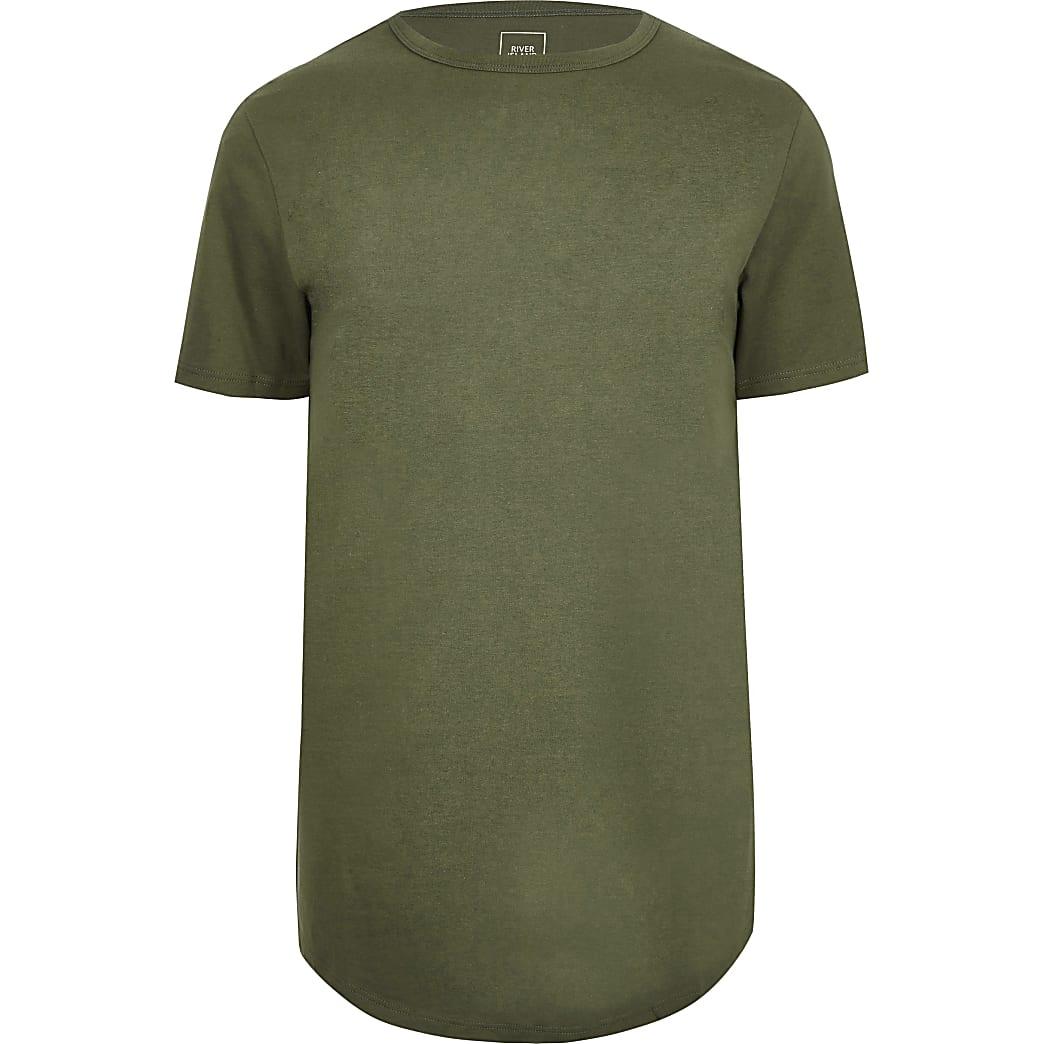 Big & Tall green curved hem longline t-shirt