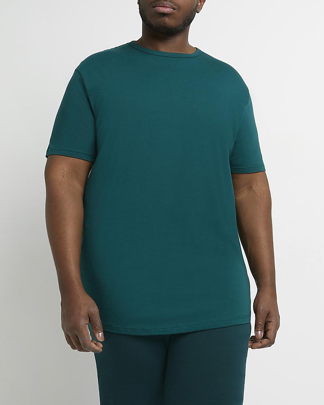 Big & tall green muscle fit curve hem t-shirt