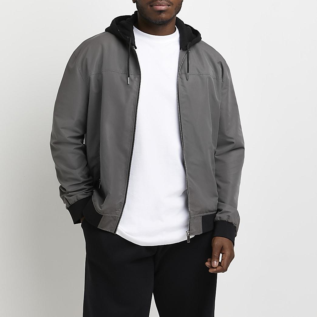 Big & Tall grey hooded bomber jacket