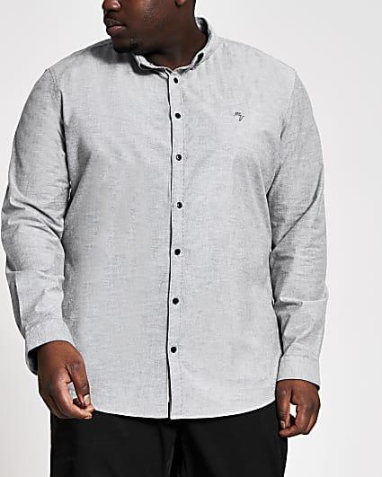 Big & Tall grey long sleeve Oxford shirt