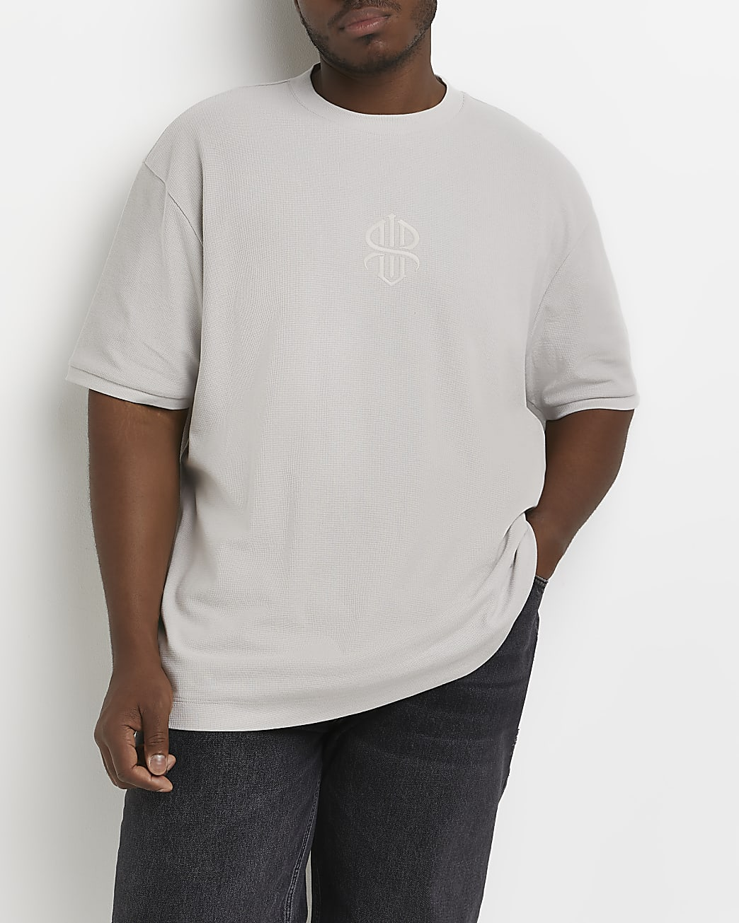 Big & tall grey RR embroidered t-shirt