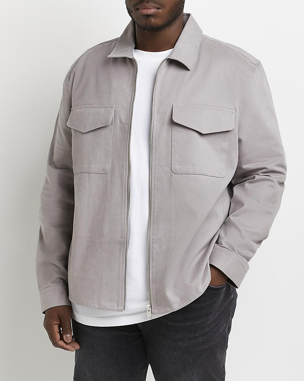 Big & tall grey shacket