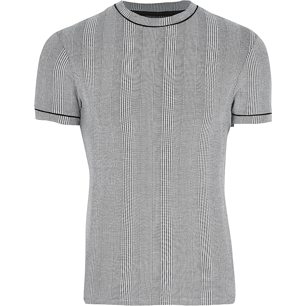 Big & Tall grey slim fit check t-shirt