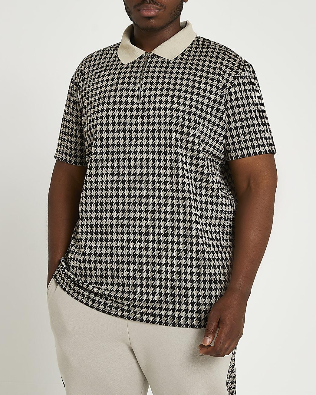 Big & tall grey slim houndstooth polo shirt
