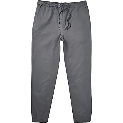 Big & tall grey washed casual chino trousers