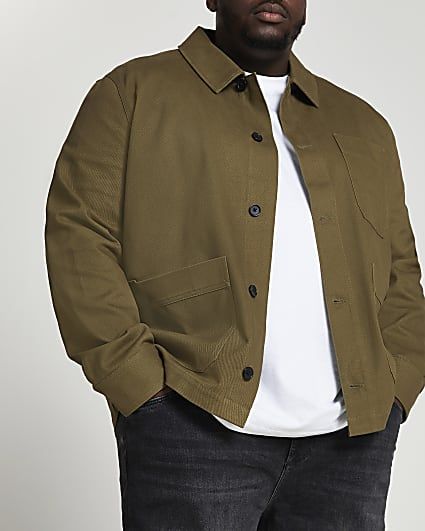 Big & Tall khaki long sleeve jacket