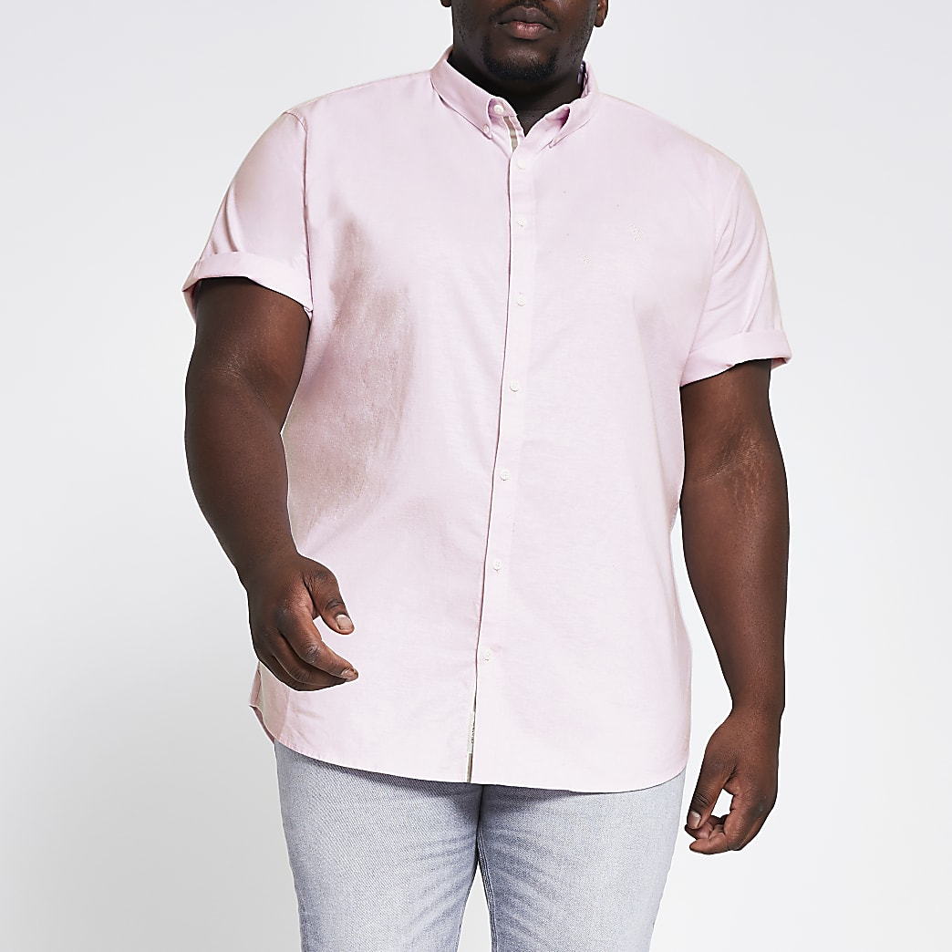 Big and Tall – Slim Fit Oxford-Hemd in Hellrosa