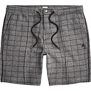Big & Tall Maison Riviera grey check shorts