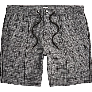 Big & Tall – Maison Riviera – Grau karierte Shorts