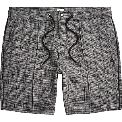 Big & Tall Maison Riviera grey check shorts
