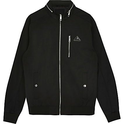 Big & Tall MCMLX black nylon racer jacket