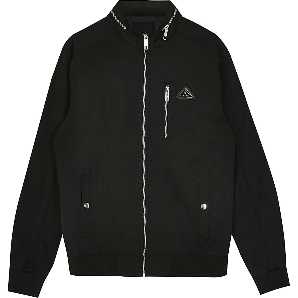 Big & Tall MCMLX black nylon racer jacket