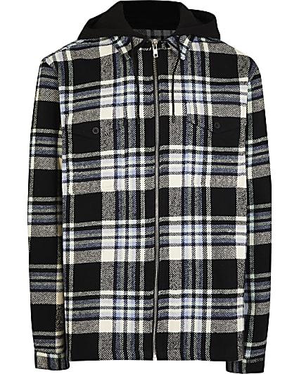 Big & tall navy check print hooded shacket