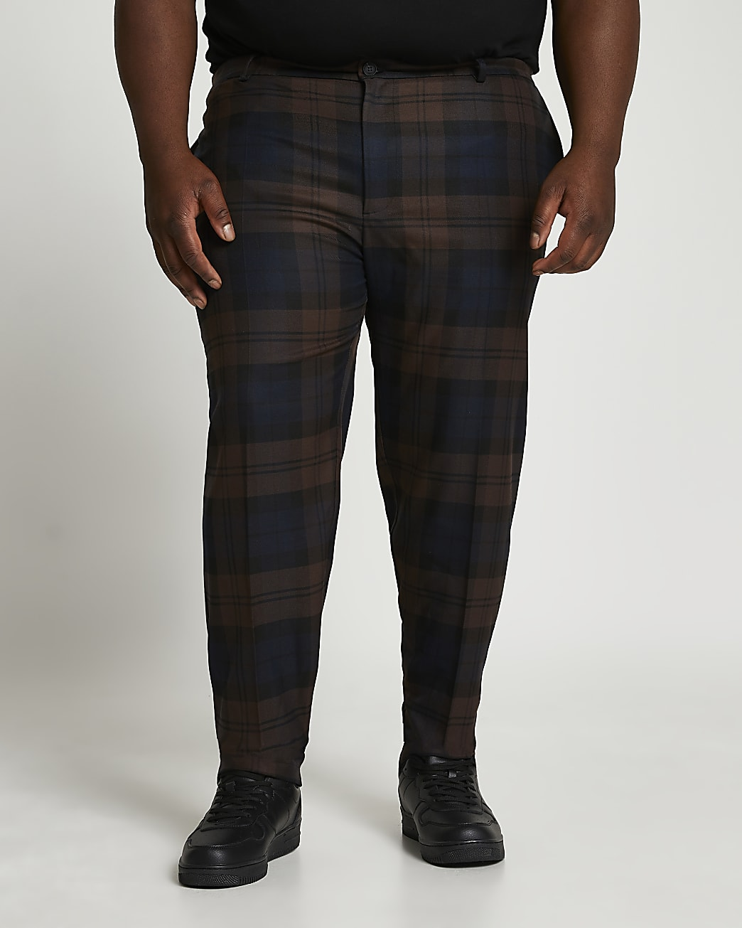 Big & Tall navy check print slim fit trousers
