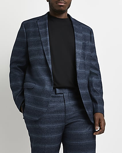 Big & tall navy check skinny fit suit jacket