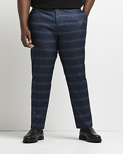Big & tall navy check skinny suit trousers