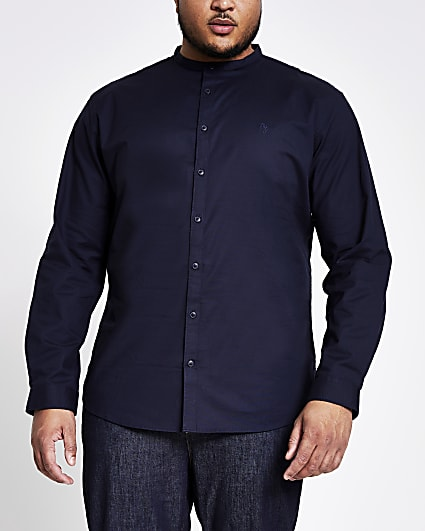 Big & Tall navy grandad long sleeve shirt