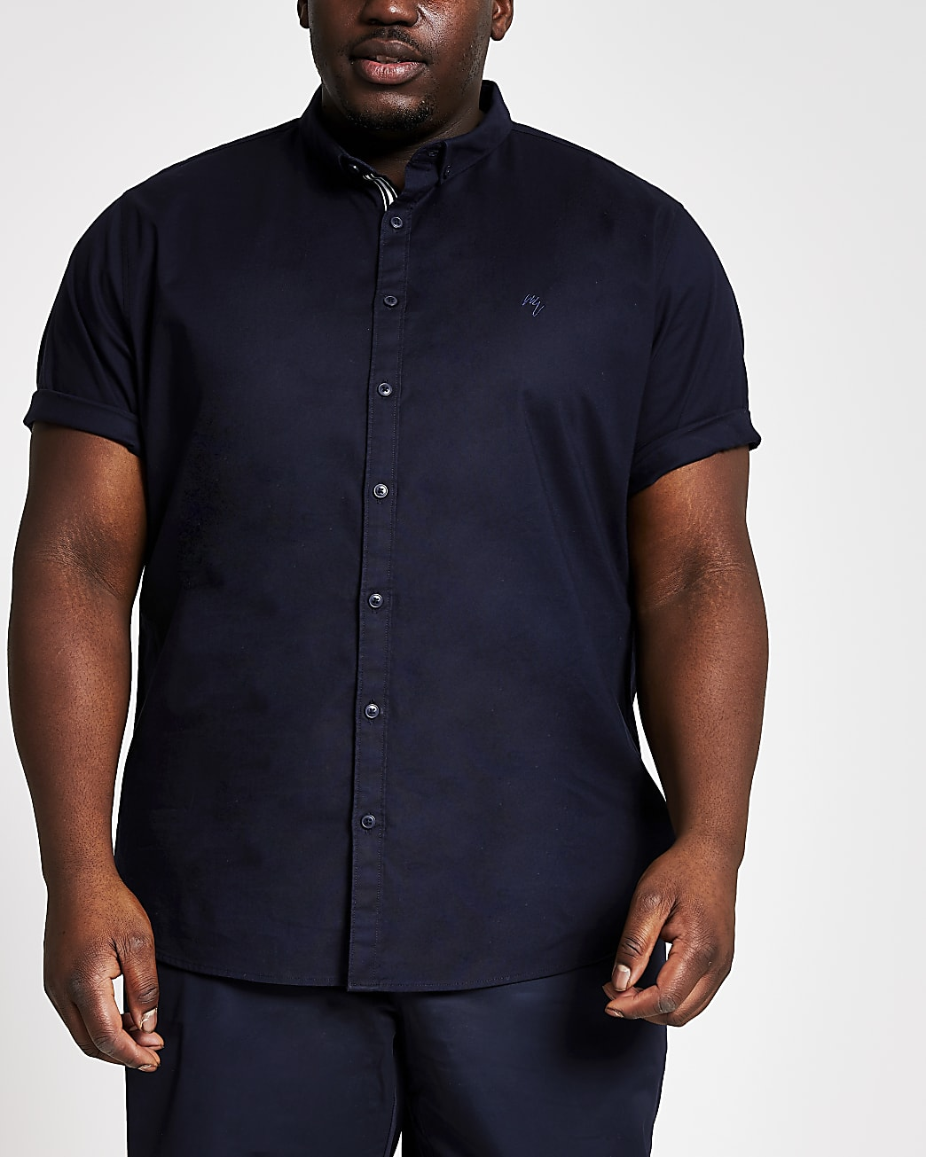 Big & Tall navy short sleeve Oxford shirt