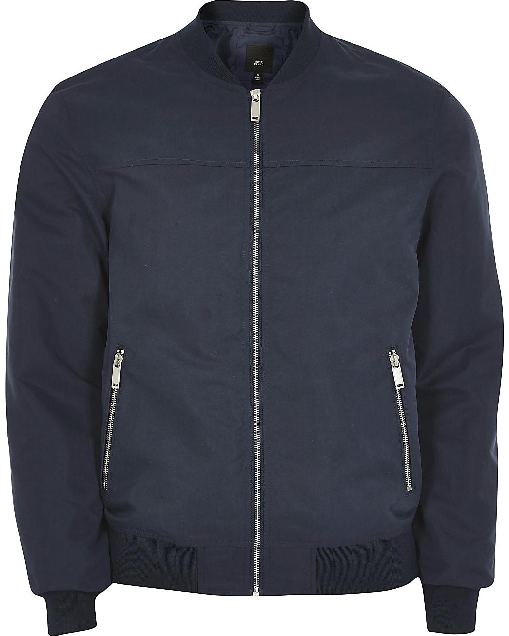 Big & Tall navy zip front bomber jacket
