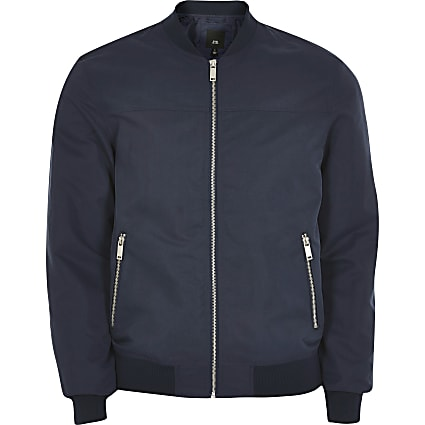 Big & Tall navy zip front bomber jacket