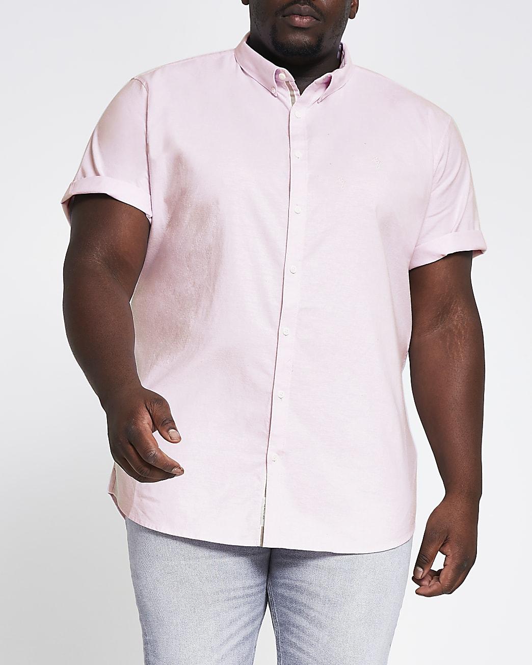 Big & Tall pink short sleeve Oxford shirt