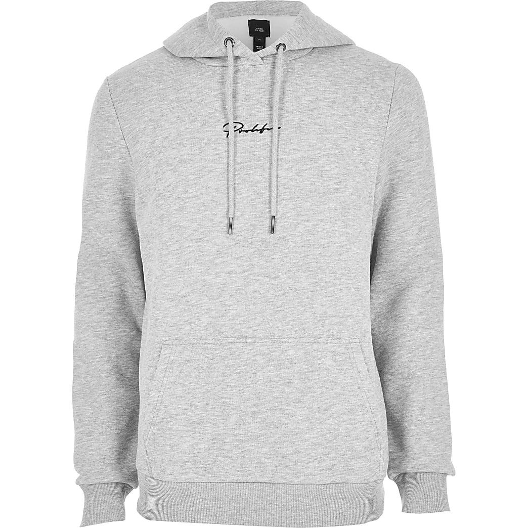 Big & Tall Prolific grey slim fit hoodie