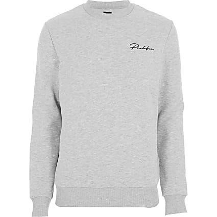 Big & tall Prolific grey slim fit sweatshirt