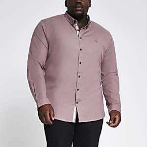 Big and Tall – Slim Fit Oxford-Hemd in Lila