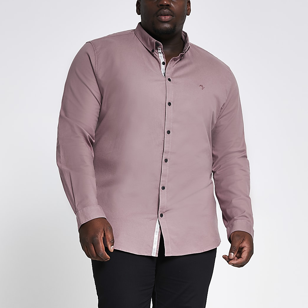 Big & Tall - Oxford paars, slim-fit overhemd