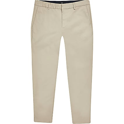 Big & tall stone skinny fit chino trousers