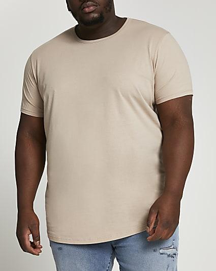 Big & tall stone slim fit curved hem t-shirt