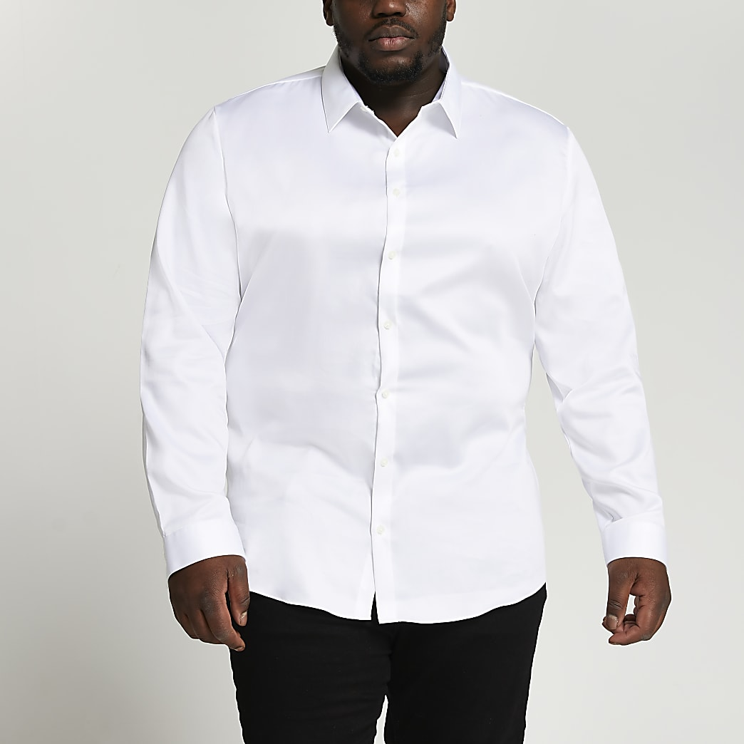 Big & Tall white cotton slim fit shirt