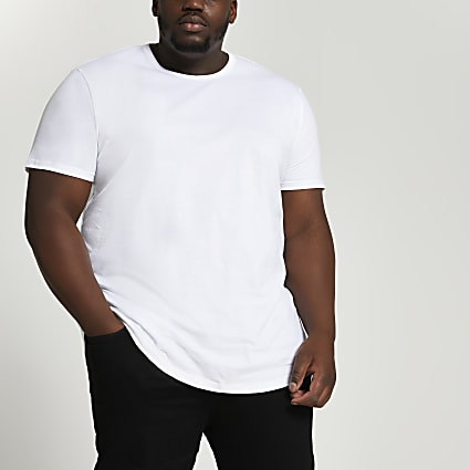 Big & Tall white curved hem longline t-shirt