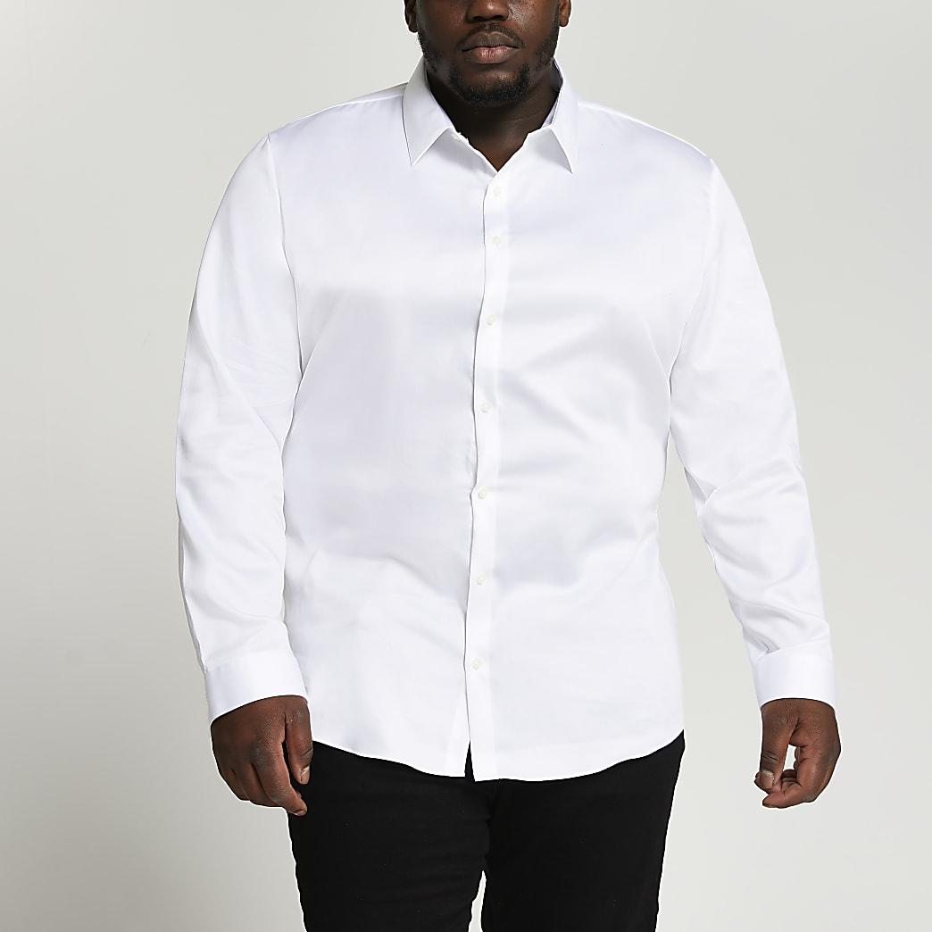 Big & Tall white Egyptian cotton slim shirt