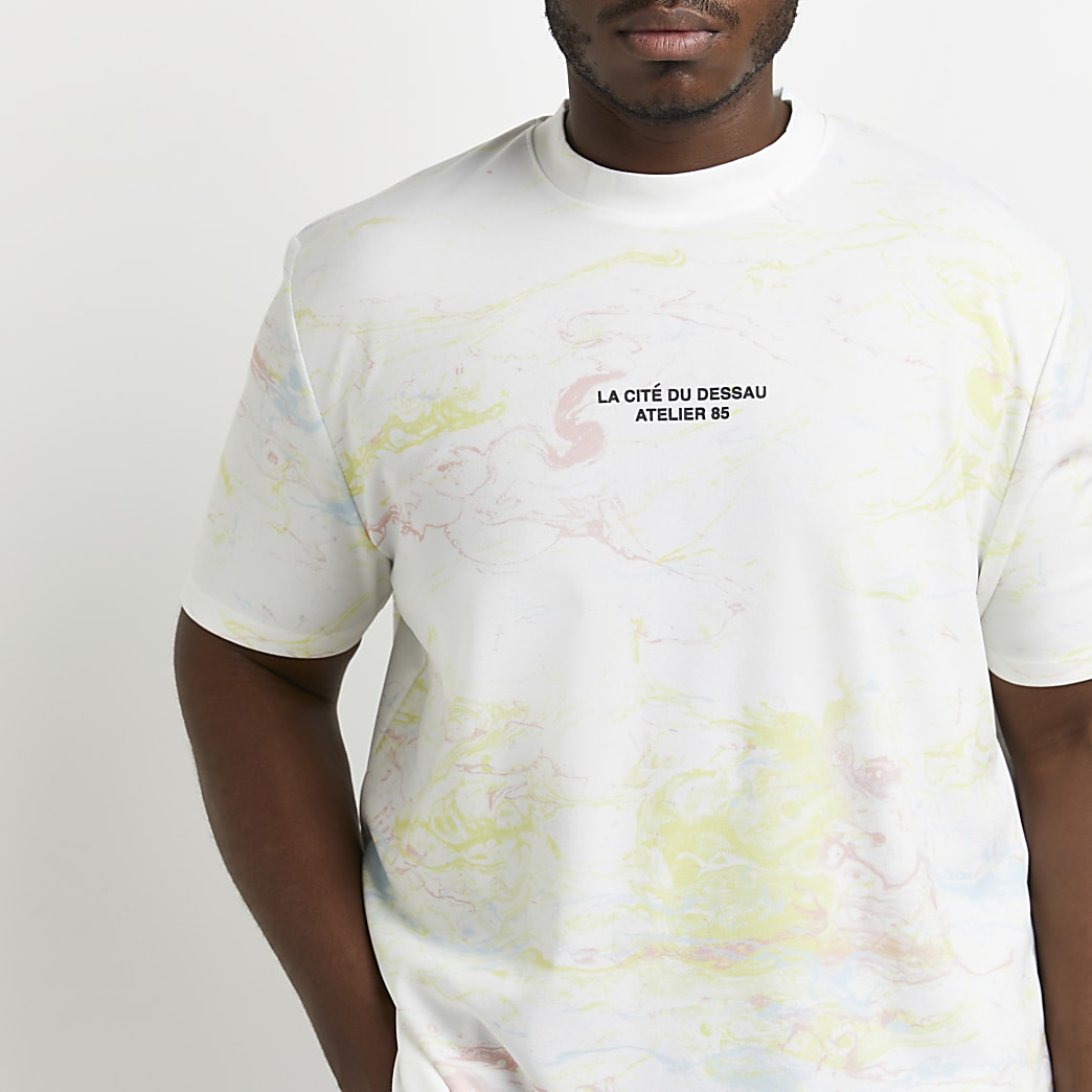 Big & Tall white marble print graphic t-shirt
