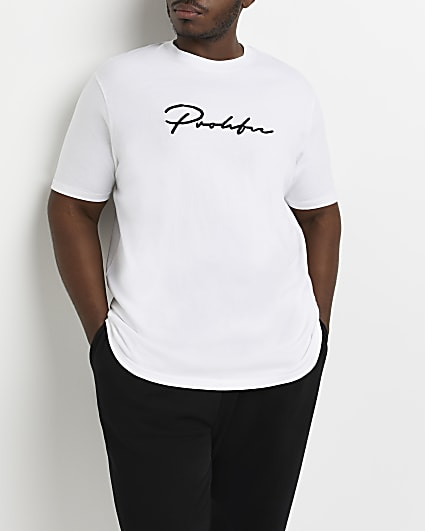 Big & Tall white 'Prolific' slim fit t-shirt