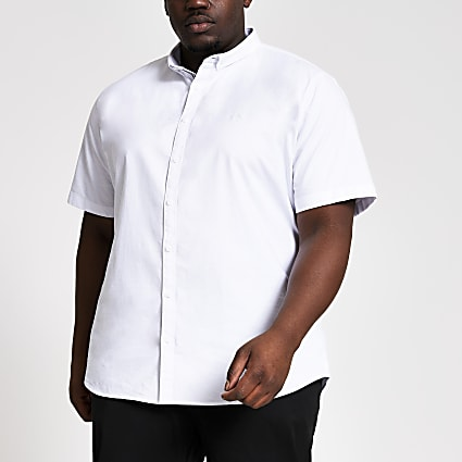 Big & Tall white short sleeve Oxford shirt