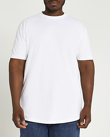 Big & tall white slim fit curved hem t-shirt