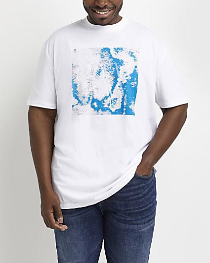 Big & tall white slim fit graphic t-shirt