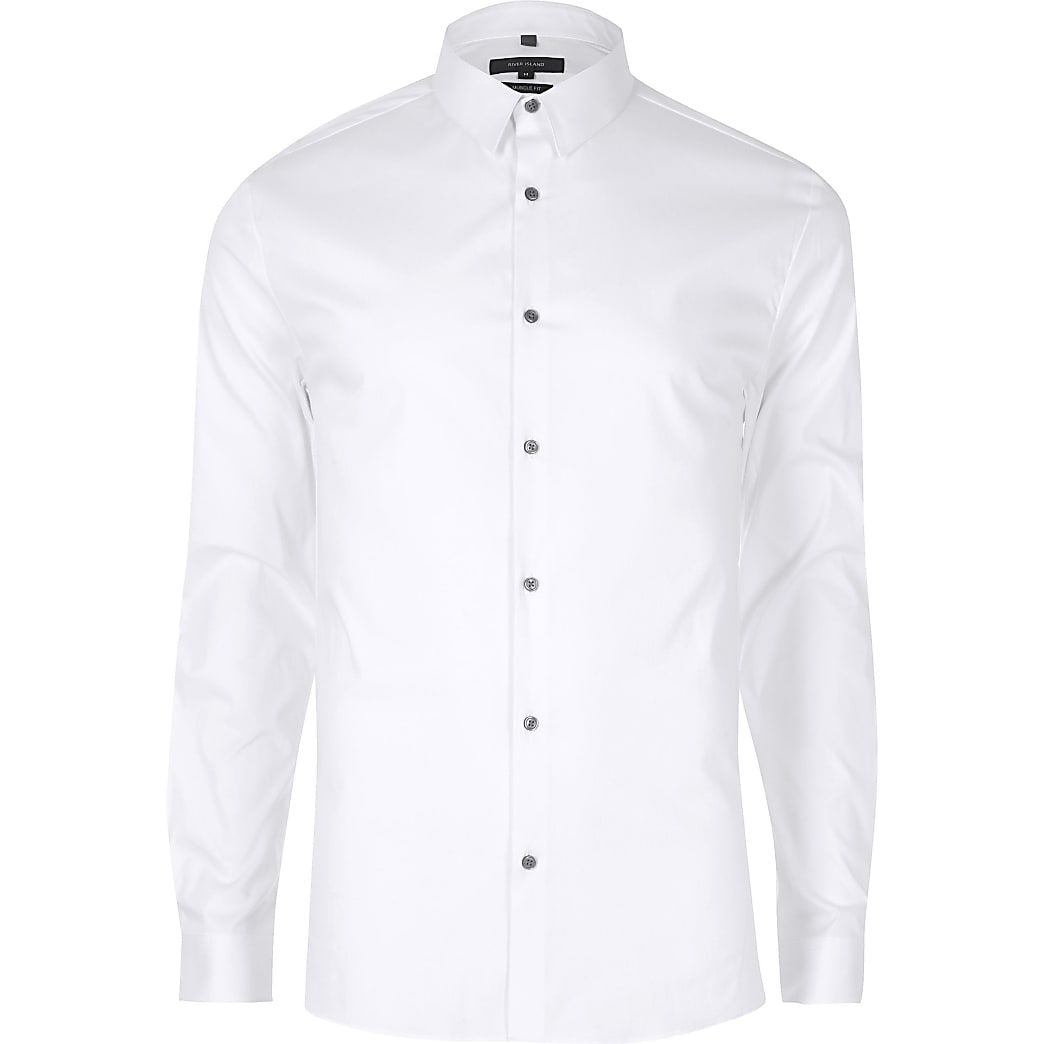 Big & Tall white slim fit long sleeve shirt