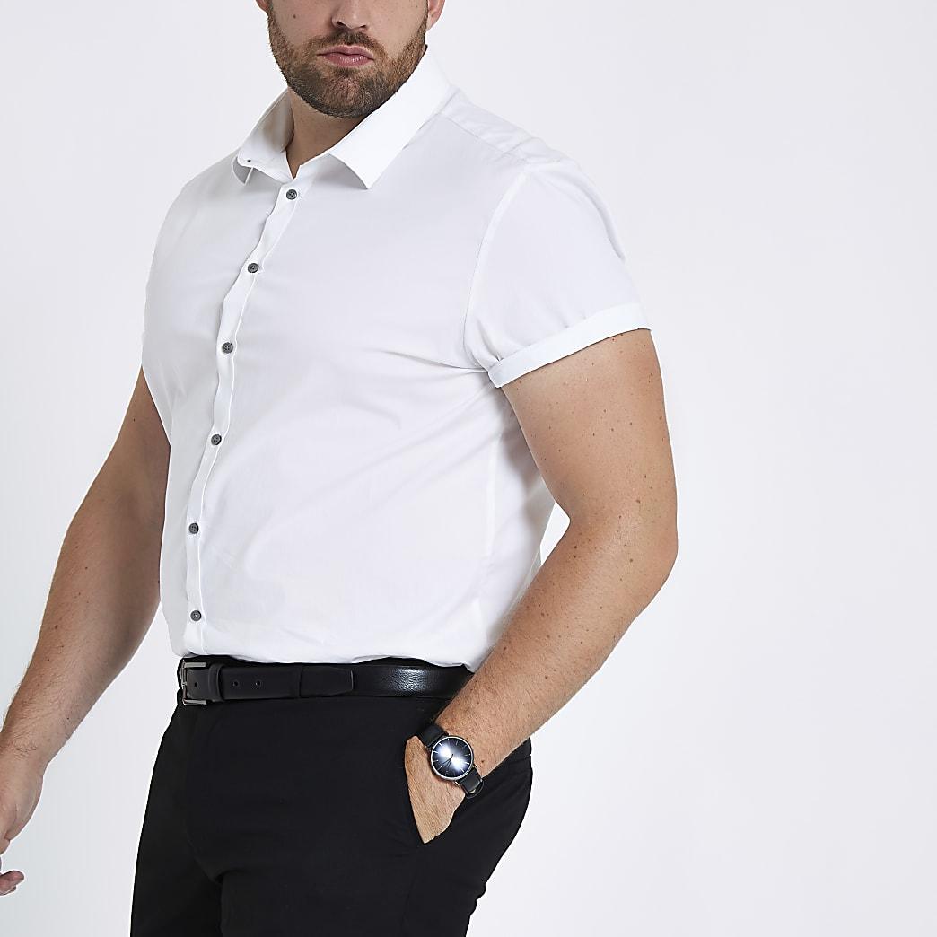 Big & Tall white slim fit short sleeve shirt