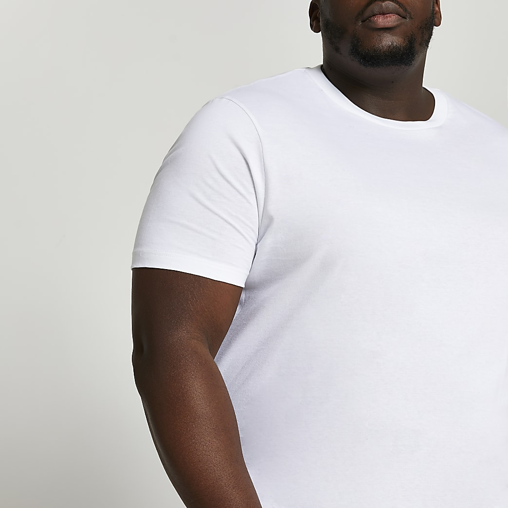 Big & Tall white slim short sleeve t-shirt
