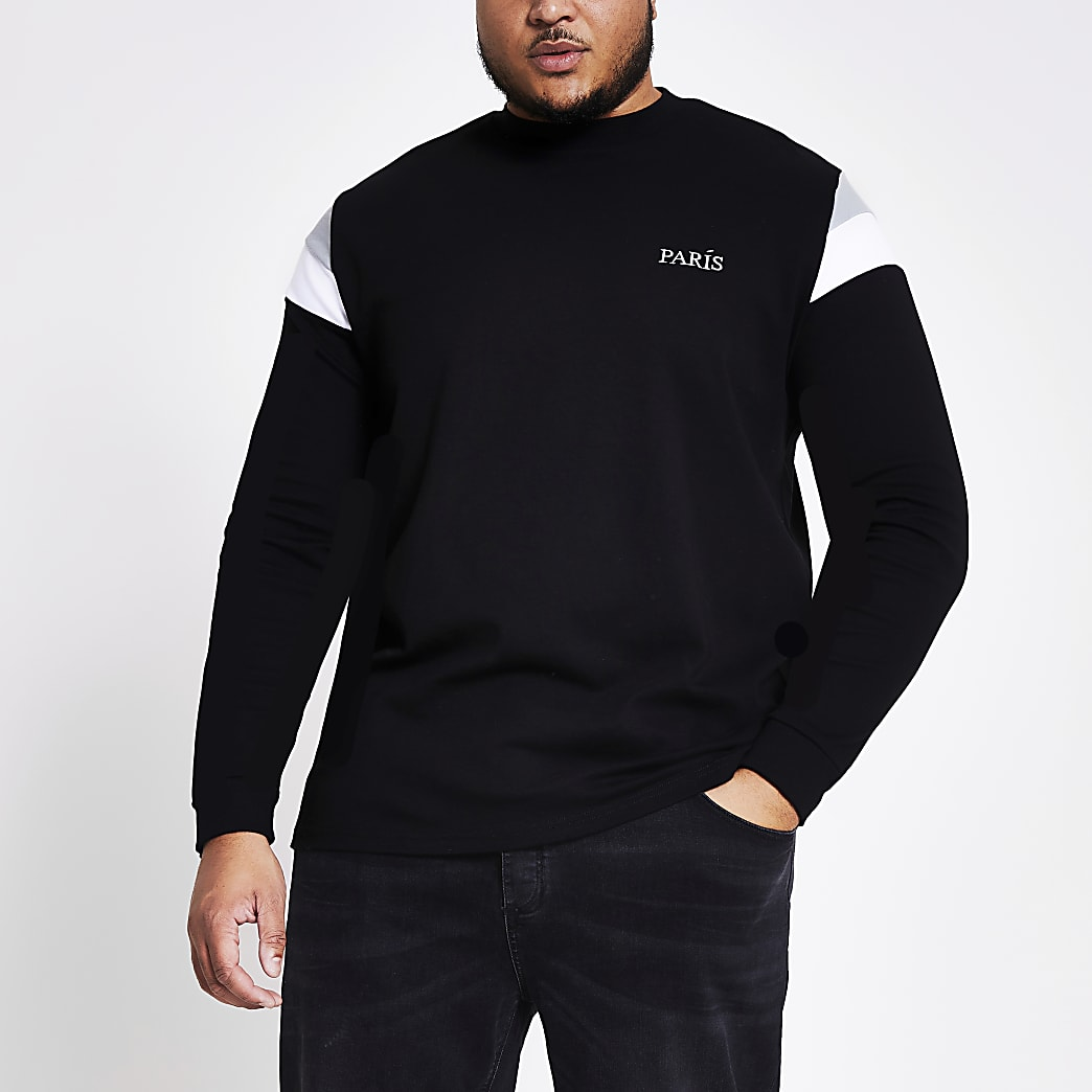 Big and Tall - Zwarte sweater met kleurvlakken