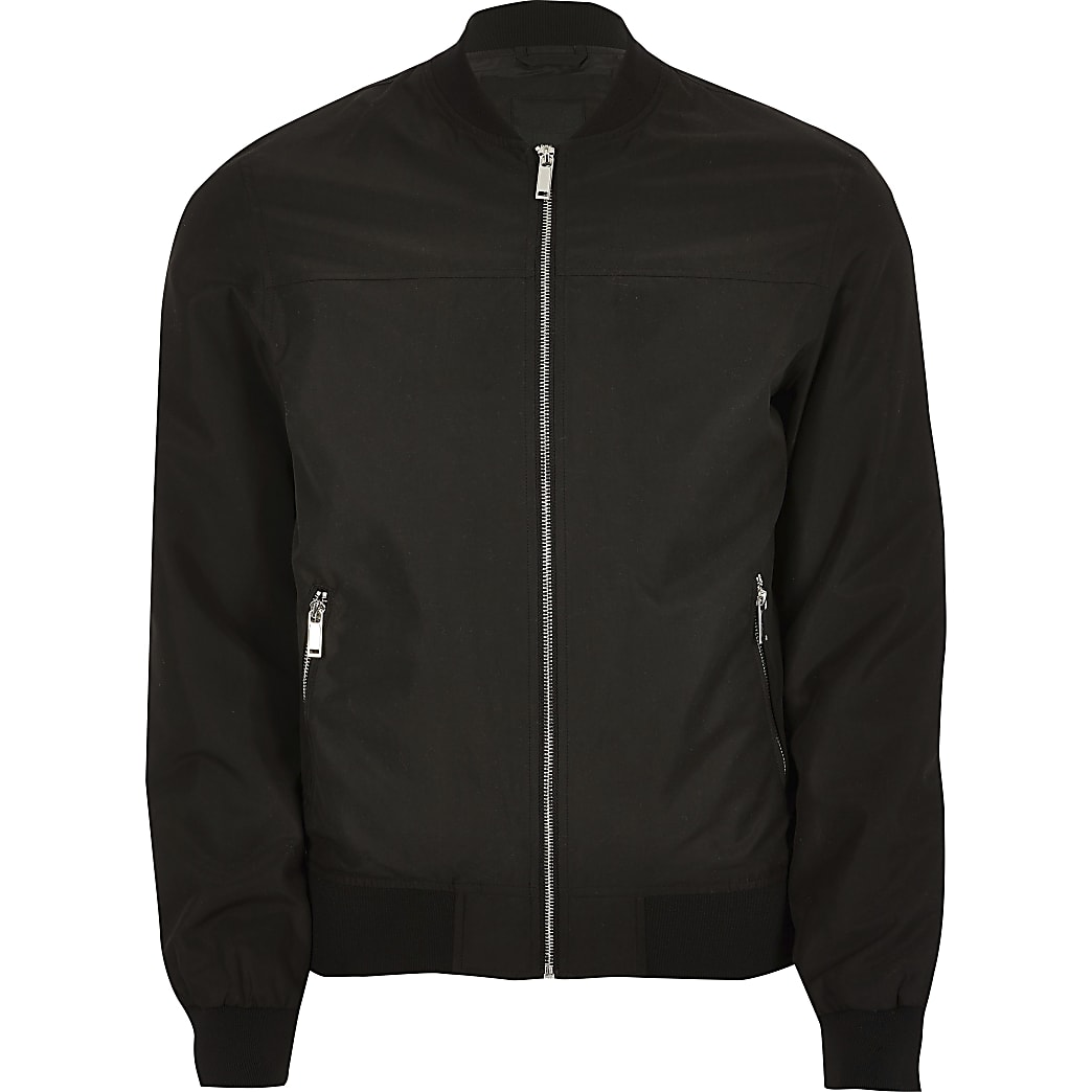 Big and Tall black bomber jacket
