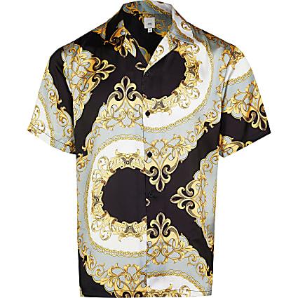 Big & Tall black chain print revere shirt