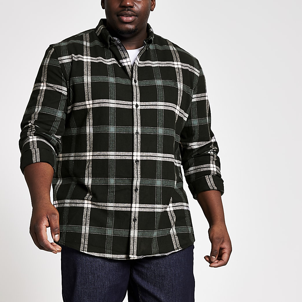 Big & Tall – Schwarz kariertes Regular Fit Hemd