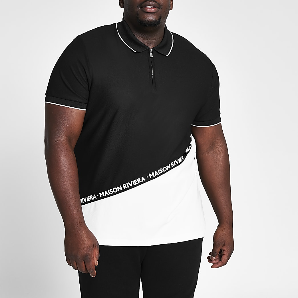 Big and Tall black colour block polo shirt