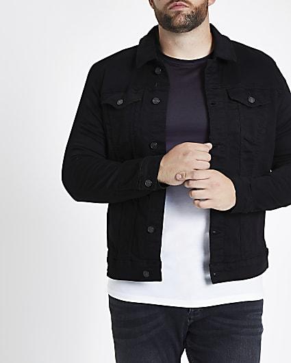 Big and Tall black denim jacket