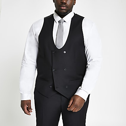 Big and Tall black double breast waistcoat
