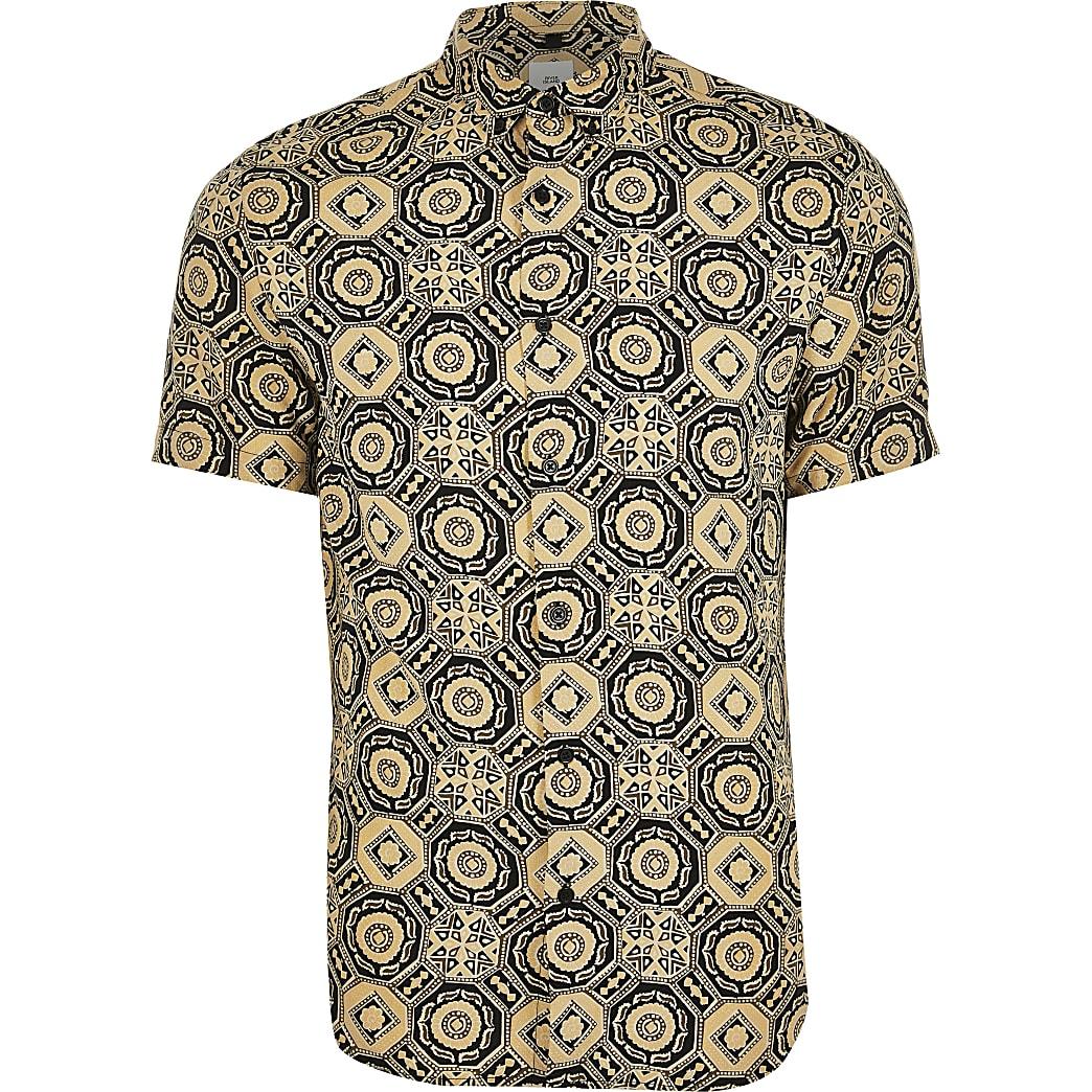 Big and Tall - Zwart overhemd met geometrische print